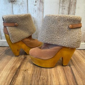 Messeca Platform Suede and Shearling Boots